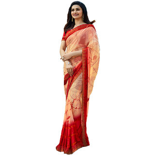 Indian Style Sarees New Arrivals Women's Peach Color Georgette Printed Saree With Blouse Bollywood Latest Designer Saree
