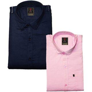 Fashlook Men's Plain Navy And Pink  Formal Poly-Cotton Shirts