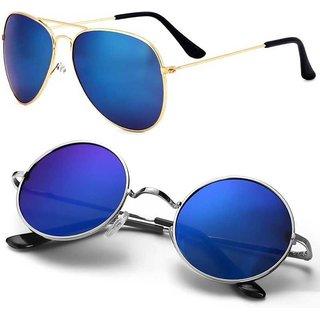 Debonair Aviator, Round Sunglasses (Blue)