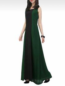 Code Yellow Teal Plain Sleeveless Casual Maxi A Line Dress for Women