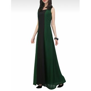 Code Yellow Women's Teal Green Black Panelled Long Dress