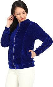 Raabta Royal Blue Velvet Semi winter Jacket