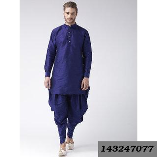 Plain Long Blue Polyester Blend Kurta & Pyjama Set With Mandarin/Chinese Collar (Regular Fit)