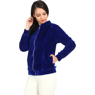 Raabta Royal Blue Velvet Semi winter Jacket