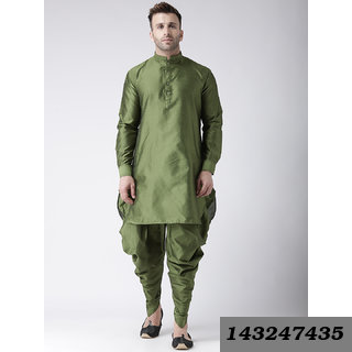 Plain Long Olive Polyester Blend Kurta & Harem Set With Mandarin/Chinese (Regular Fit)