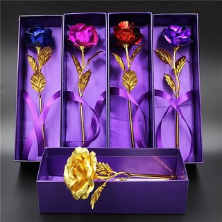 24k Gold Plated Rose With Purple Box for Valentine Day Gift Rose Day Gift (Multicolor)