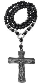 Sullery Religious Jewelry Jesus Christ Cross Crystal Pendant Necklace  Black & Grey  Crystal  Necklace Pendant