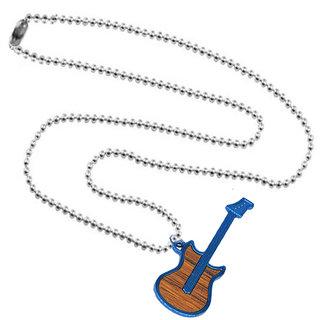 Sullery Fashion Music Guitar Pendant Necklace  Blue & Brown  Zinc & Alloy  Necklace Pendant