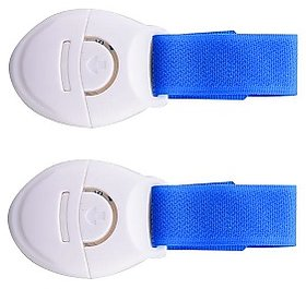 Kuhu Creations Kids Safety Nylon Lock for Drawer Fridge Cabinet Furniture. (2 Units, Blue Nylon)