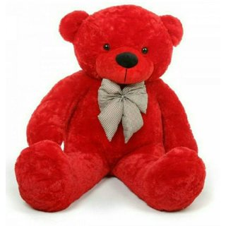 Omex 5 Feet BIG Stuffed Spongy Teddy Bear Cuddles Soft Toy For Girls 152 Cm   Red