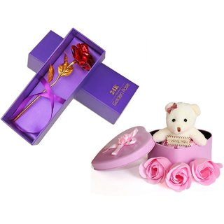 Buy Valentine Day Gift for Girlfriend Rose and Heart Shape Box with Teddy best Gift for Teddy day Rose Online - Get 55% Off