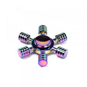 6 Stick Wheel Aluminum Fidget Spinner Toy for Autism Adult, Child Rainbow Color