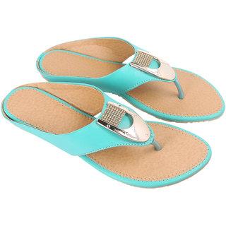 Be You Women Turquoise Open Toe Flats Footwear