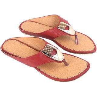 Be You Women Maroon Open Toe Flats Footwear
