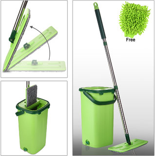 Smile Mom, Magic Mop Stick Rod with Bucket Set in Offer for Wet  Dry Use, Best 360 Degree Spin Easy Floor Cleaning for