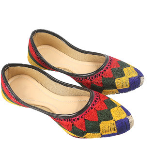 Be You Women Multicolor Embroidered Bellies / Mojari / Jutti