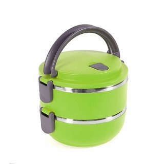 Lunch Box Food Grade Stainless Steel Compact Office Lunch Box Tiffin Heat Resistance Container (Green, 2 Layer)