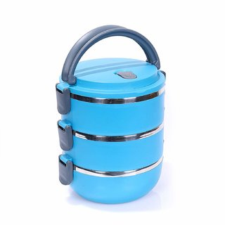 Lunch Box Food Grade Stainless Steel Thermal Hot Vacuum Steel Insulated Lunch Tiffin Container Mess Box (Blue, 3 Layer)
