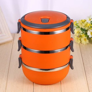Lunch Box Food Grade Stainless Steel Thermal Hot Vacuum Steel Insulated Lunch Tiffin Container Mess Box(Orange, 3 Layer)