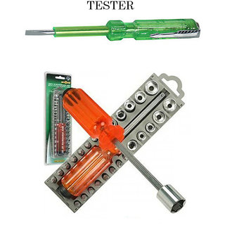 Heavy Duty 28 Pcs Screwdriver Bit Set Toolkit + Free 1 Electric Tester