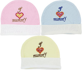 Neska Moda Baby Boys And Girls Multicolor Cap For 0 To 18 Month Pack Of 3 KC8