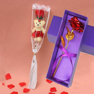Valentine Day Gift for Girlfriend Red Rode with Teddy for Your Love Ones Gift for Teddy day Rose Day