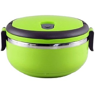 Lunch Box Stainless Steel Round Breakfast Lunch Dinner for School Office with Lock System and Handle(Green, 1 Layer)