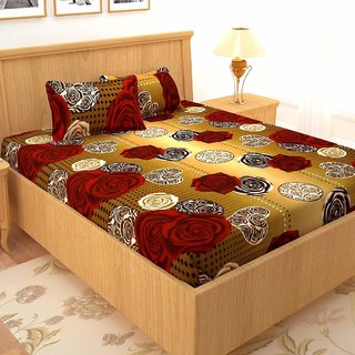 Weave Well 3D Printed Polycotton 1 Double Bedsheet With 2 Pillow Covers Multicolor