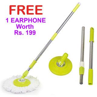 Veenoshka Mop Rod Stick Stainless Steel with Plate and Microfiber Mop Stick  1 Mop Head Mop 360 Rotate S.S Rod Pocha (