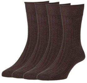 Platinum Men's Warm Woolen Soft Comfortable Socks (Brown, Free Size) Combo Pack of 3
