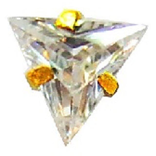 Buy Vinayak Triangle Cubic Zirconia Gold Nose Stud 4mm Online
