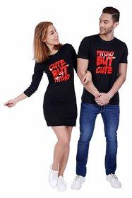 We2 Cotton Psycho But Cute Printed Black Color Couple T Shirt Dress Combo