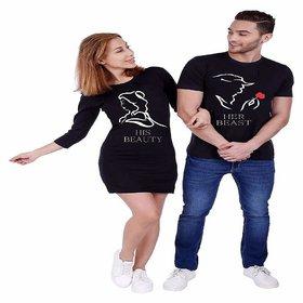 We2 Cotton Couple T-Shirt Dress Combo Her Beast His Beauty