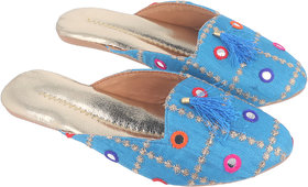 Be You Women Blue Mirror Work Traditional Flats / Ethnic Footwear