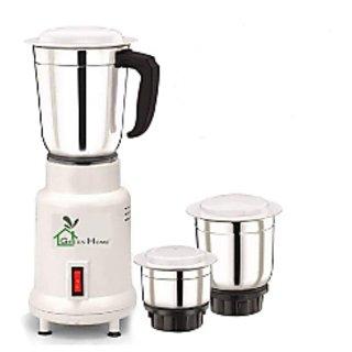 Green Home 450 Watt 3 STAINLESS STEEL JAR Mixer Grinder(White 3 Jars)