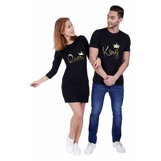 King and Queen Black Printed Round Neck Cotton Couple Combo T-Shirts