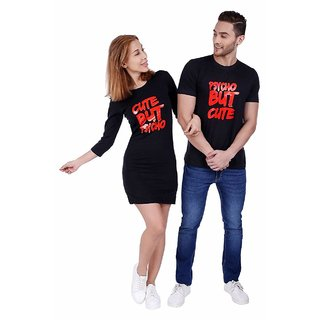 We2 Cotton Psycho But Cute Printed Black Color Couple T Shirt Dress Combo