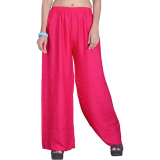 Naisargee Magenta Cotton Solid Palazzo for girls and Women's with Elasticated Waistband.