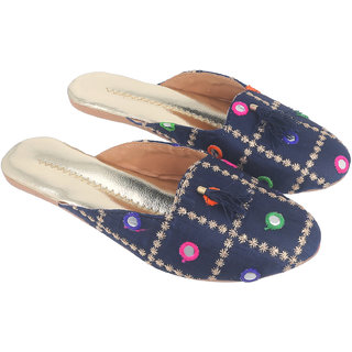 Be You Women Navy Blue Mirror Work Traditional Flats / Ethnic Footwear