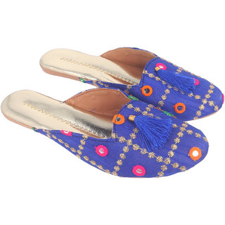 Be You Women Dark Blue Mirror Work Traditional Flats / Ethnic Footwear