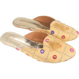 Be You Women Golden Mirror Work Traditional Flats / Ethnic Footwear