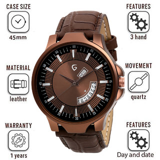 Gen-Z GENZ-SN-DD-0051 Brown dial Brown leather strap day and date Gift Watch for Men