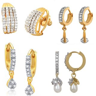 Awsome Amercian Diamond Small Everyday Set of 4 Different Earrings For Girls  Women Office By GoldNera