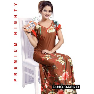 Brown Night Wear for Women Printed Nightie Long Sleep Dress Daily Bedroom 9466B Maxi Gown
