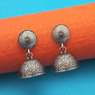 JewelMaze Oxidised Plated Jhumki Earrings-1315026