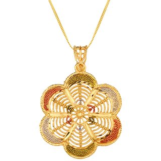 Paria Intricate Classic Evergreen Beautiful Big Size Pendant With Chain Gold Plated For Women  Girls India For Everyday  Party Wear.