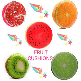 Style Maniac Presents  Set of 5  fruit Pillow Back shaped Decorative round fruit foam chair Soft fruit Cushion Pillow