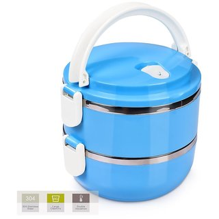 Lunch Box Food Grade Stainless Steel Compact Office Lunch Box Tiffin Heat Resistance Container Box(Blue, 2 Layer)