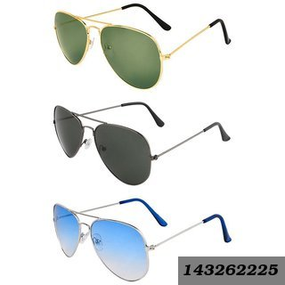 862da9cc12 Mens  Women Combo Of 3 Multicolor Unisex Aviator Style Sunglasses Uv  Protection Goggles