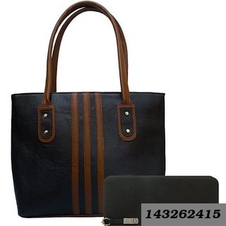 Black Color Stripe Hand bag and Black Plain Clutch for Women